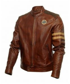 Mens Lotus Brown Leather Jacket