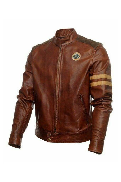 Mens Lotus Brown Leather Jacket