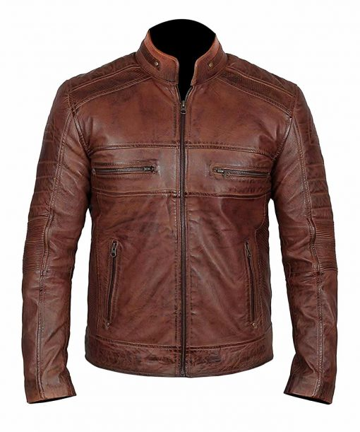 Mens Motorcycle Distressed Leather Jacket