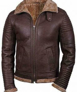 Mens Pilot Shearling Brown Leather Jacket