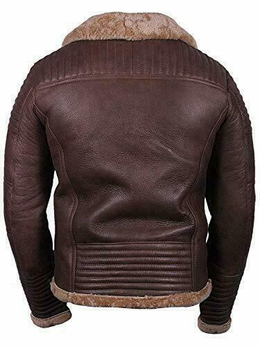 Mens Pilot Shearling Leather Brown Jacket