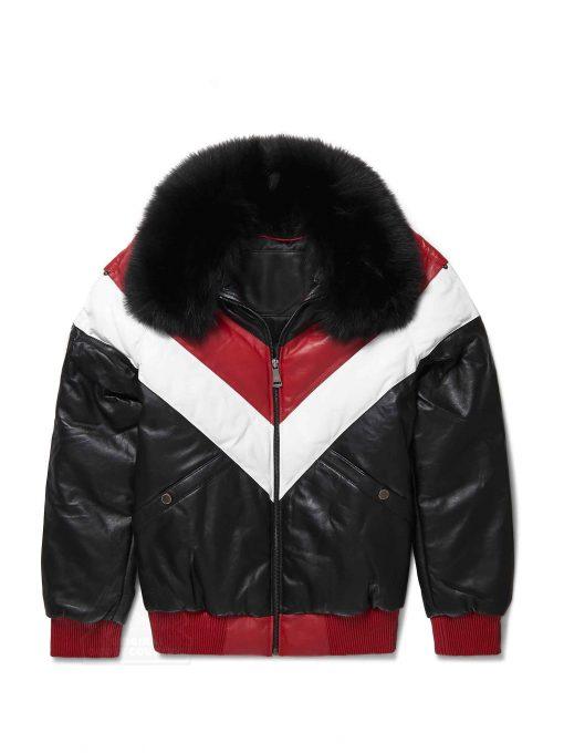 Mens V-Bomber Black Lambskin Jacket