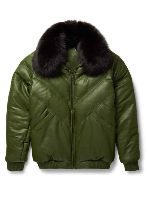 Mens V-Bomber Lambskin Green Jacket