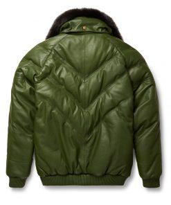 Mens V-Bomber Lambskin Olive Green Jacket