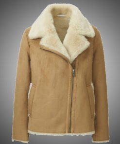 Women Brown Faux Shearling Jacket