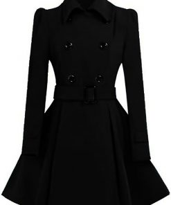 Women Double Breasted Swing Black Pea Coat