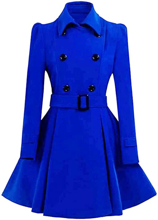 Women Double Breasted Swing Blue Pea Coat