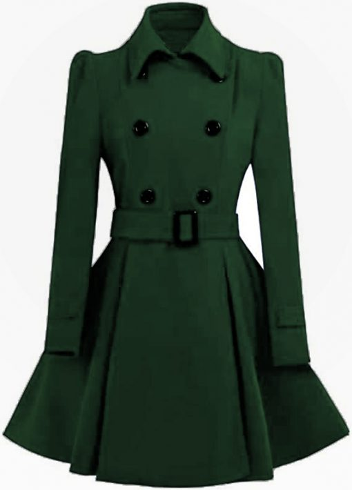 Women Double Breasted Swing Green Pea Coat