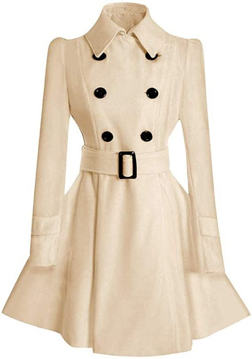 Women Double Breasted Swing Pea Beige Coat