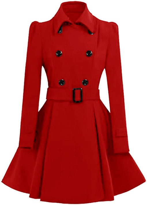 Women Double Breasted Swing Red Pea Coat