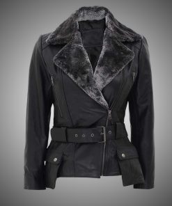 Womens Black Shearling Leather Jacket