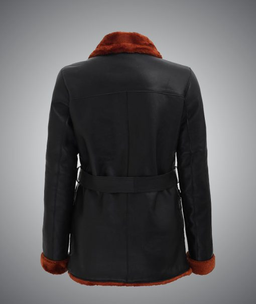 Womens Brown Shearling Collar Leather Coat