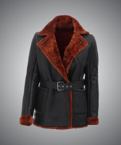 Womens Brown Shearling Leather Coat