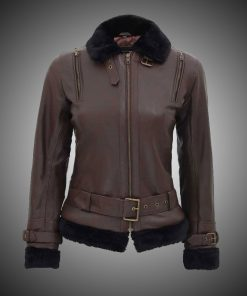 Womens Brown Shearling Leather Jacket