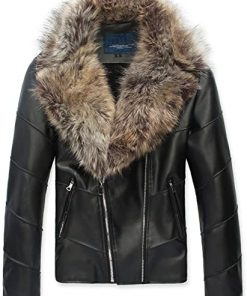 Womens Faux Leather Winter Jacket