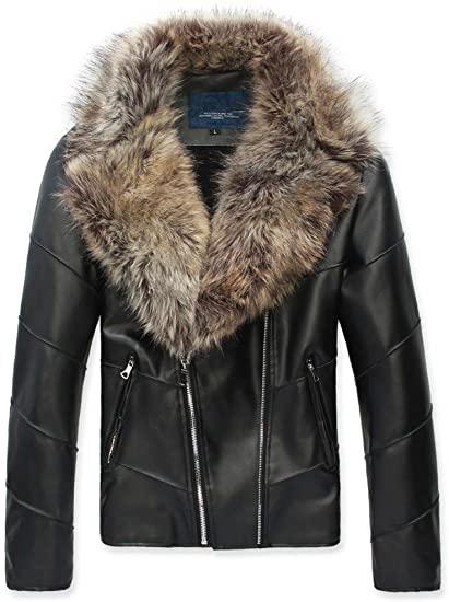 Womens Faux Leather Winter Jacket