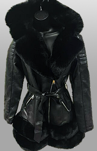Womens Leather Long Shearling Coat