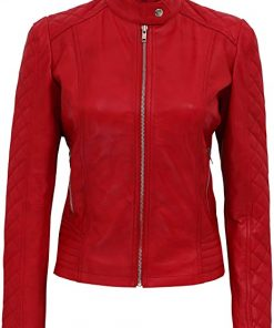 Womens Motorcycle Red Leather Jacket