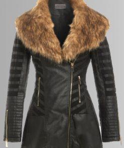 Womens Shearling Black Coat