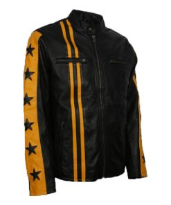 Men Cafe Racer Yellow Star Black Leather Jacket
