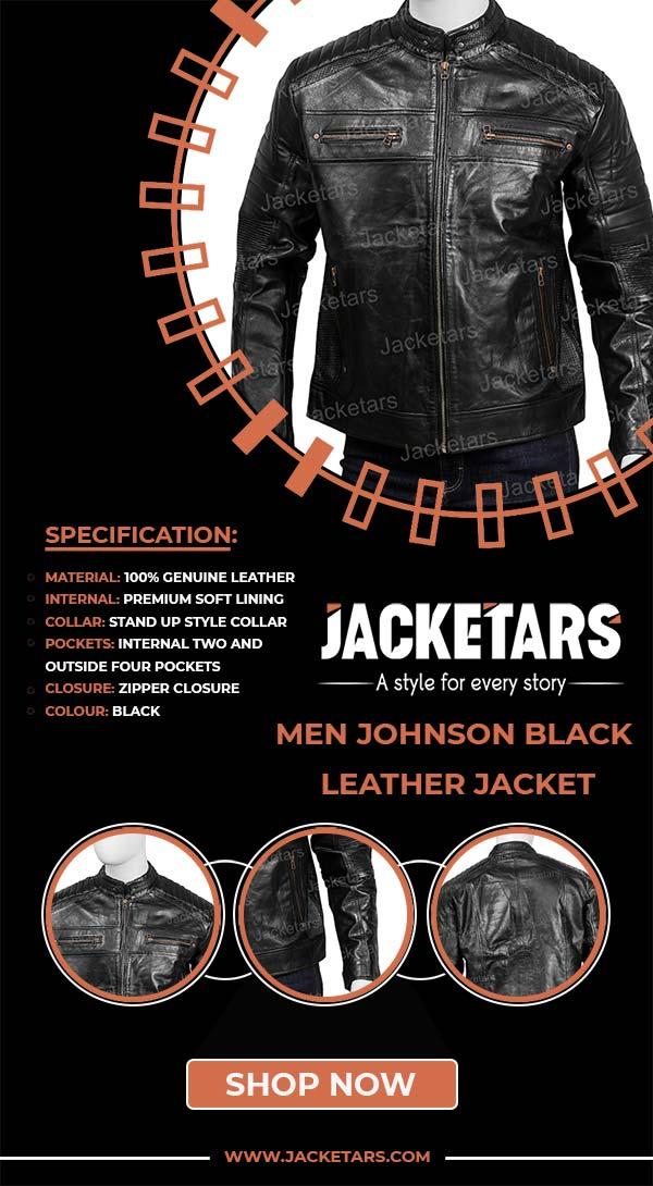 Men Johnson Black Leather Jacket info
