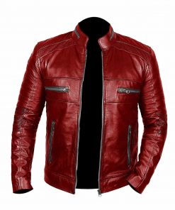 Men Johnson Red Leather Jacket