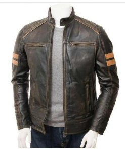 Men Jux Brown Leather Jacket