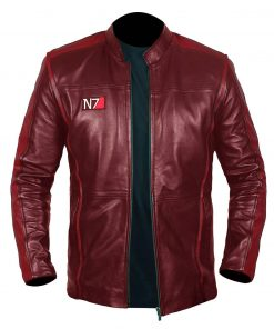 Men N7 Mass Effect 3 Biker Red Jacket