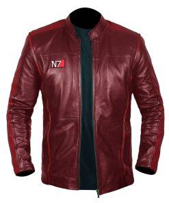 Men N7 Mass Effect 3 Biker Red Jacket
