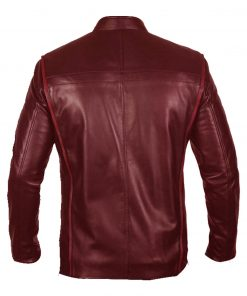 Men N7 Mass Effect 3 Biker Red Leather Jacket