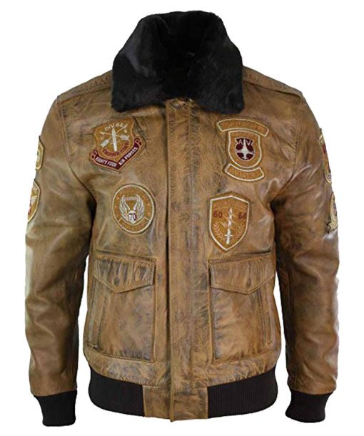 Mens Aviator Bomber Leather Jacket
