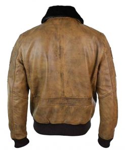 Mens Aviator Tan Brown Bomber Leather Jacket