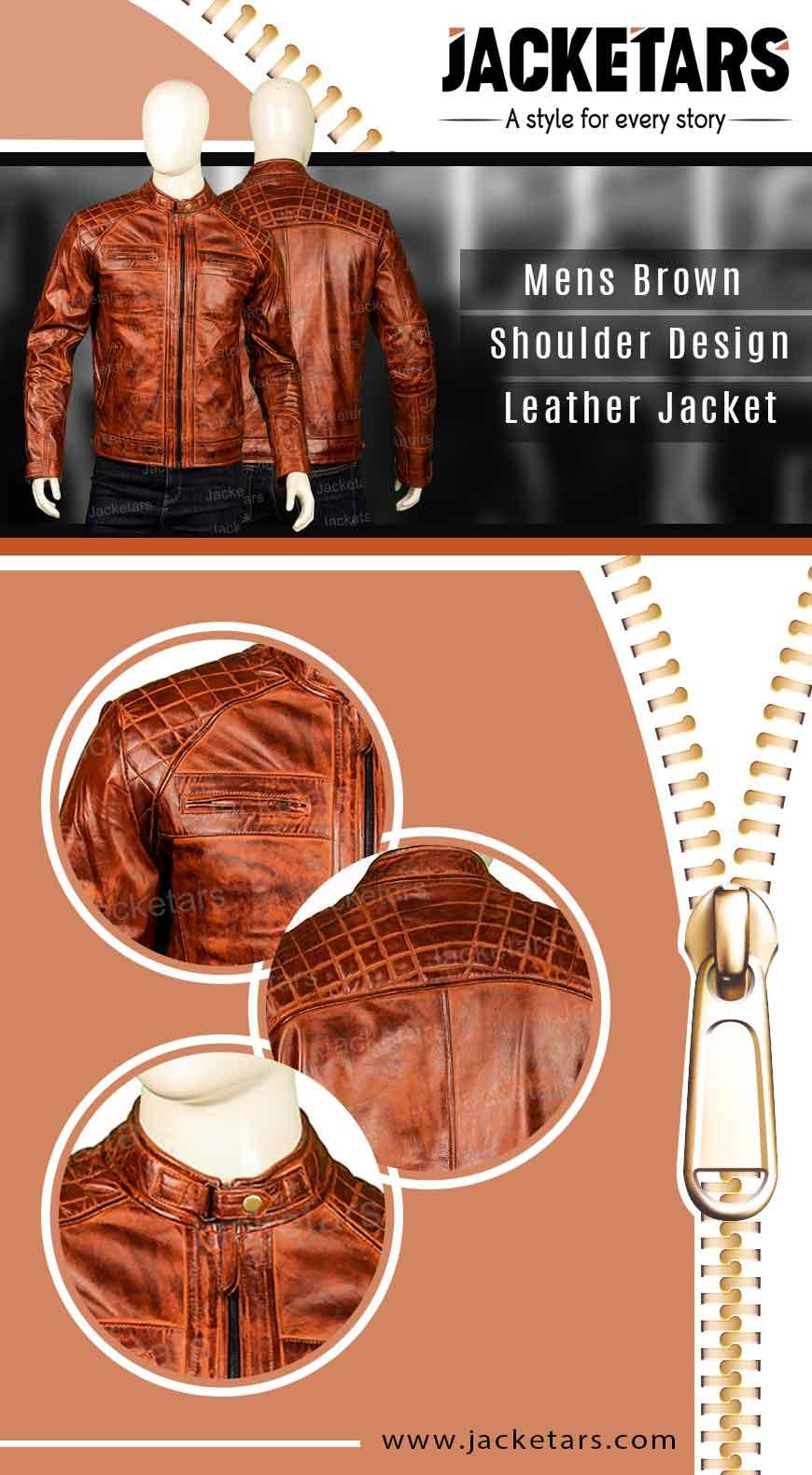 mens brown shoulder design leather cafe racer jacket info