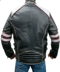 Mens Cafe Racer Distressed Black Leather Jacket