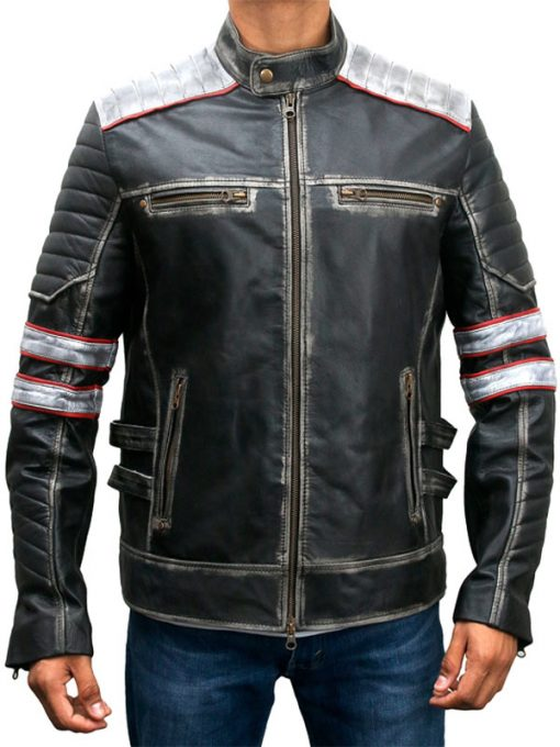 Mens Cafe Racer Distressed Leather Jacket