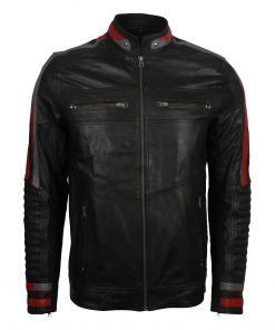 Mens Cafe Racer Red Striped Jacket
