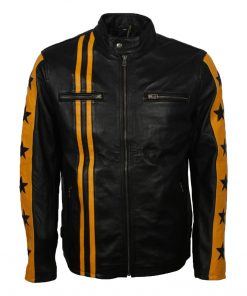 Mens Cafe Racer Yellow Star Leather Jacket
