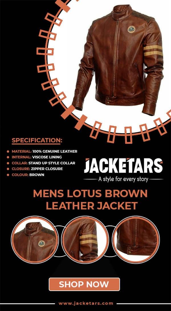 Mens Lotus Leather Brown Jacket