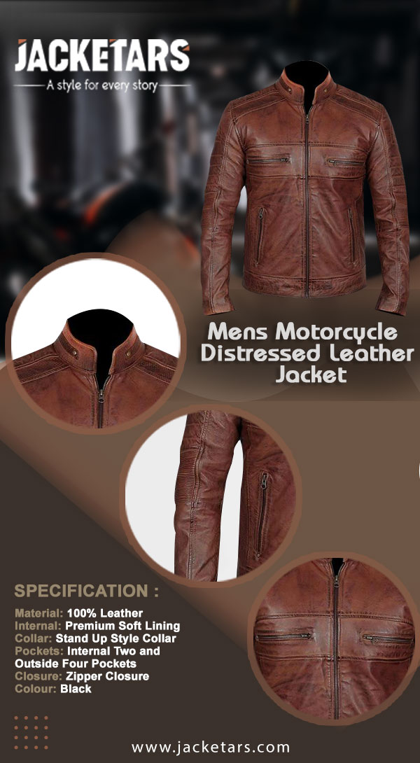 Mens Motorcycle Distressed Leather Cafe Racer Jacket Info