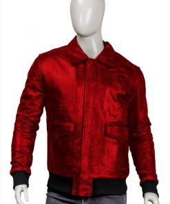 Mens Real Sheepskin Bomber Red Jacket