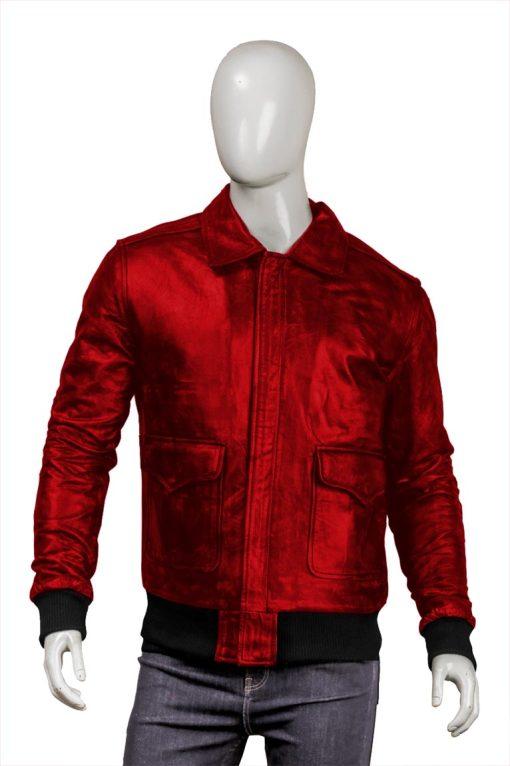 Mens Real Sheepskin Bomber Red Jacket