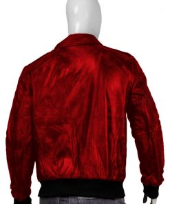 Mens Real Sheepskin Bomber Red Leather Jacket