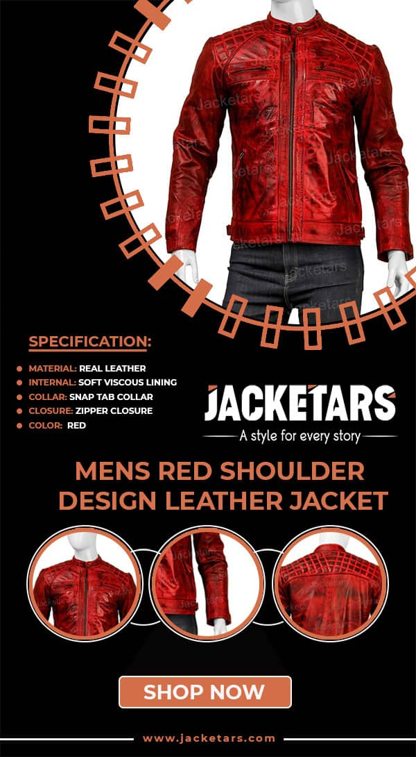 Mens red shoulder design leather cafe racer jacket info