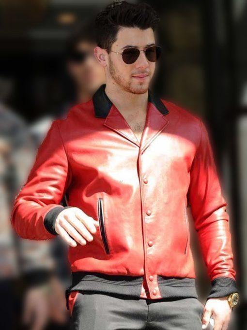 Nick Jonas Red Leather Jacket