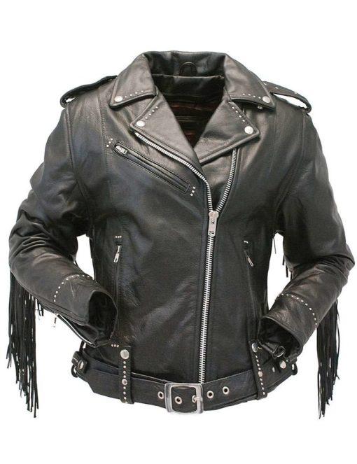 Women Fringe Leather Jacket