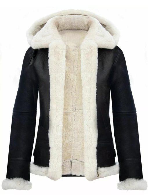 Women Hooded Shearling Jacket