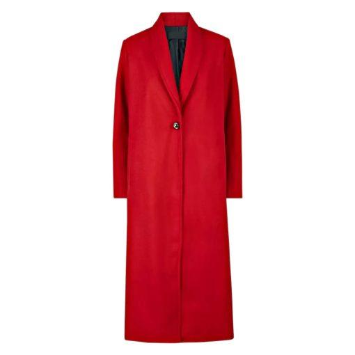 Women Red Long Coat