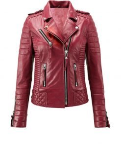 Womens Biker Red Leather Jacket
