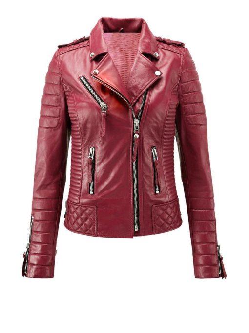 Womens Biker Red Leather Jacket