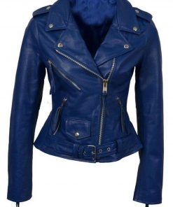 Womens Blue Biker Jacket